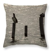 Seadrift Texas Birds At Rest Throw Pillow