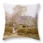 At School Green Isle Of Wight Throw Pillow