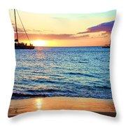 At Sea Sunset Throw Pillow