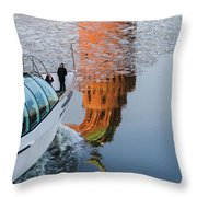 At The Background Of Moscow Kremlin - Featured 3 Throw Pillow