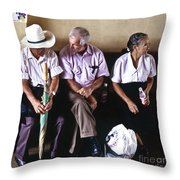 At The Bus Station Throw Pillow