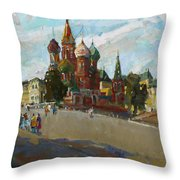 At The Cathedral Of Vasily The Blessed Throw Pillow