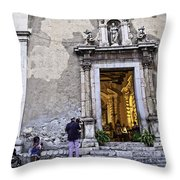 At The Church - Child's Curiosity - Sicily Throw Pillow