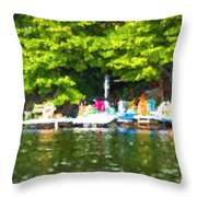 At The Cottage Dock Throw Pillow