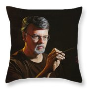 At The Easel Self Portrait Throw Pillow