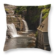 At The Falls In Ausable Ny Throw Pillow