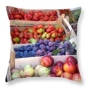 Fruit Stand Near St. Marks Throw Pillow