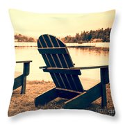 At The Lake Square Format Throw Pillow