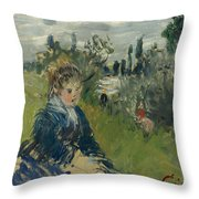 At The Meadow. Vetheuil Throw Pillow