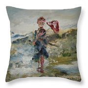 At The Ocean On A Rainy Day Throw Pillow