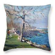 At The Park By Lake Ontario Throw Pillow