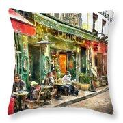 At The Restaurant In Paris Throw Pillow