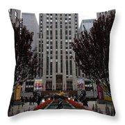 At The Rockefeller Center Throw Pillow