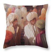 At The Temple Entrance, 2012 Acrylic On Canvas Throw Pillow