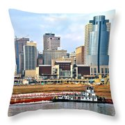 At Work On The Ohio River Throw Pillow