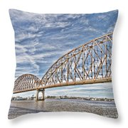 Atchafalaya River Bridge Throw Pillow