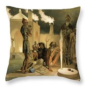 Ateseh-gah, Indians Devoted To The Cult Throw Pillow