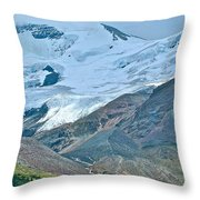 Athabasca Glacier Along Icefields Parkway In Alberta Throw Pillow