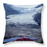 1m3734-athabasca Glacier W Original Icefields Chalet Throw Pillow