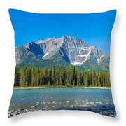 Athabasca River With Mountains Throw Pillow