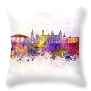 Athens - Oh Skyline In Watercolor Background Throw Pillow