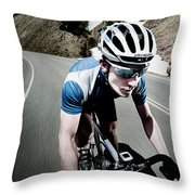 Athletic Male High Speed Cycling Throw Pillow