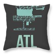 Atl Atlanta Airport Poster 2 Throw Pillow by Naxart Studio