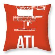 Atl Atlanta Airport Poster 3 Throw Pillow