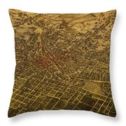 Atlanta Georgia City Schematic Street Map 1892 On Recovered Worn Parchment Paper Throw Pillow