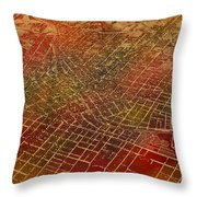 Atlanta Georgia City Street Map Watercolor From 1892 On Recovered Worn Parchment Paper Throw Pillow
