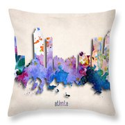 Atlanta Painted City Skyline Throw Pillow