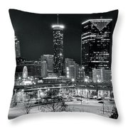 Atlanta Panoramic Black And White Throw Pillow