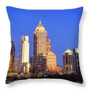 Atlanta Skyline At Dusk Midtown Color Panorama Throw Pillow