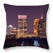 Atlanta Skyline At Night Downtown Midtown Color Panorama Throw Pillow by Jon Holiday