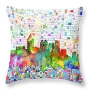 Atlanta Skyline Watercolor 3 Throw Pillow