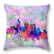 Atlanta Skyline Watercolor 4 Throw Pillow