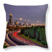 Atlanta Sundown Night Lights Art Throw Pillow