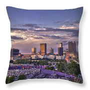 Atlanta Sunset Fulton County Stadium Braves Game  Throw Pillow