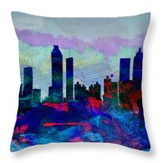 Atlanta Watercolor Skyline Throw Pillow