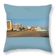 Atlantic City At Sunset Throw Pillow by Olivier Le Queinec