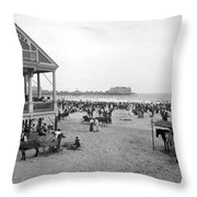 Atlantic City Beach, C1900 Throw Pillow