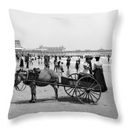 Atlantic City Beach, C1901 Throw Pillow