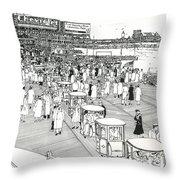 Atlantic City Boardwalk 1940 Throw Pillow