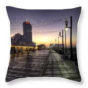Atlantic City Boardwalk In The Morning Throw Pillow