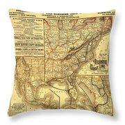 Atlantic Coast Line Railway Map 1885 Throw Pillow
