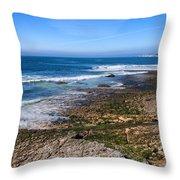 Atlantic Ocean Shore In Estoril Throw Pillow