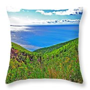 Atlantic Ocean View Point From Cape Breton Highlands National Park-nova Scotia Throw Pillow
