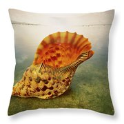 Atlantic Trumpet Triton Shell Throw Pillow