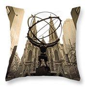 Atlas At Rockefeller Center Back Side Throw Pillow