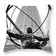 Atlas In Rockefeller Center Throw Pillow